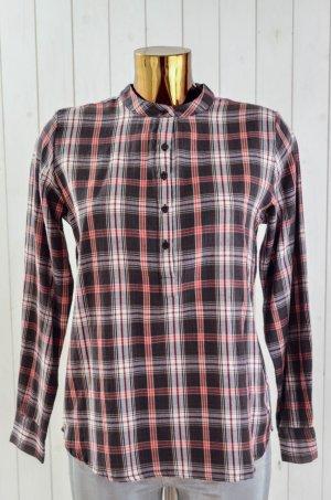 LOLLYS LAUNDRY Damen Bluse Tunika Hemd Kariert Knopfleiste Braun Rot Weiss Gr.S