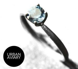Anello d'argento argento-blu acciaio Argento