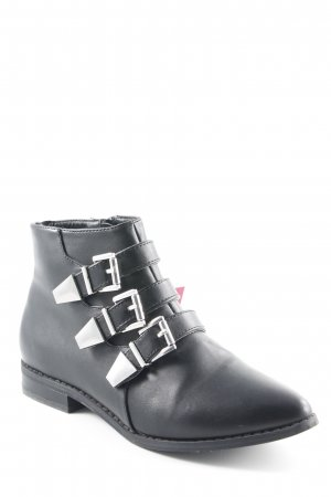 London Rebel Ankle Boots schwarz Biker-Look