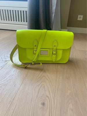 London Satchel Schoolbag aus Leder in Neon Gelb