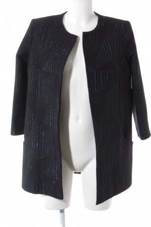 Long-Blazer schwarz-blau grafisches Muster Business-Look