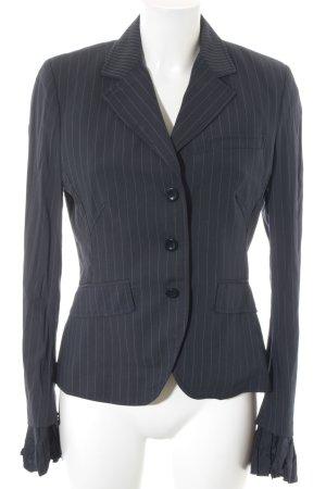 Blazer long blanc cassé-bleu foncé motif rayé style d'affaires