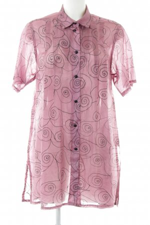 Long Blouse mauve-black abstract pattern casual look
