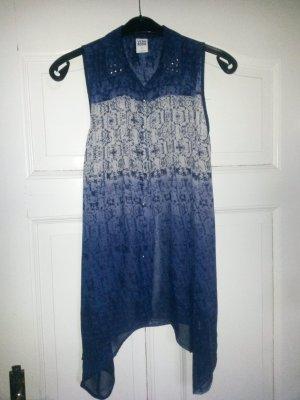 Long-Bluse blau/weiß gemustert