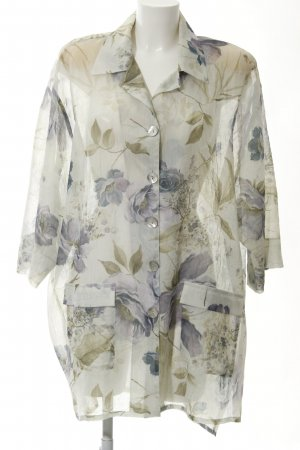 Long-Bluse florales Muster Transparenz-Optik