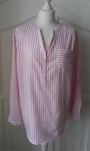 Long Bluse Gr. 42 Weiß Pink wenig getragen