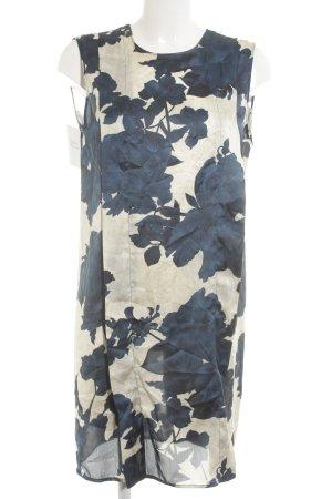 Long-Bluse hellbeige-dunkelblau Blumenmuster Beach-Look