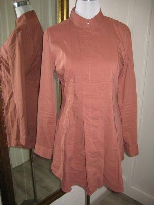 Long Bluse Hochgeschlossen Rostfarben Gr M