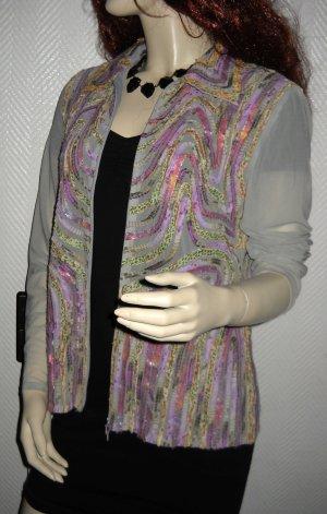Long Bluse Jacke Blouson Netz Reißverschluss grau lila Obstenee 10 36 38 S H M L