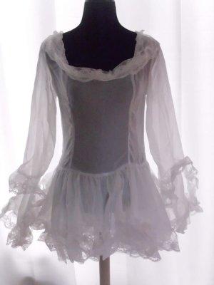 Volante jurk wit Gemengd weefsel