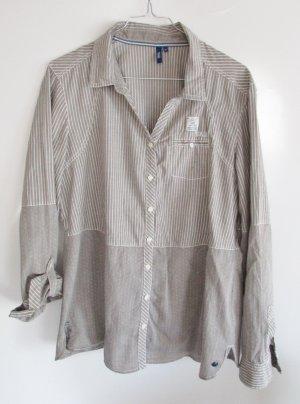 Long Bluse Materialmix Hemd Cecil Größe M 38 40 Grau Hellgrau Weiß Streifen Punkte Oversize