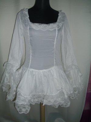 Long Bluse / Minikleid in weiß mit Rüschen und Volant Größe 38