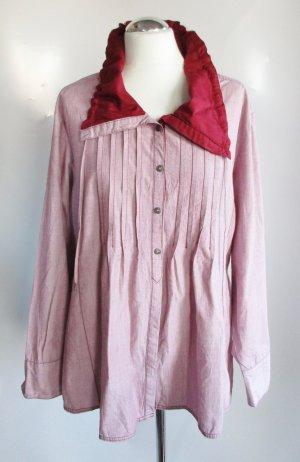 Long Bluse Tunika Kenny S. Größe XL 44 46 Dunkel Rot Bordeaux Rosa Weiß Schalkragen Biesen