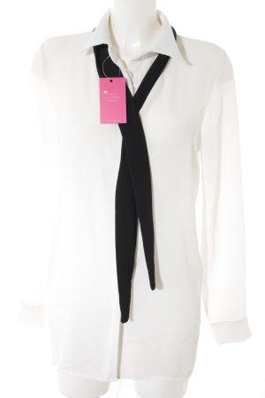 Long-Bluse weiß-schwarz Business-Look