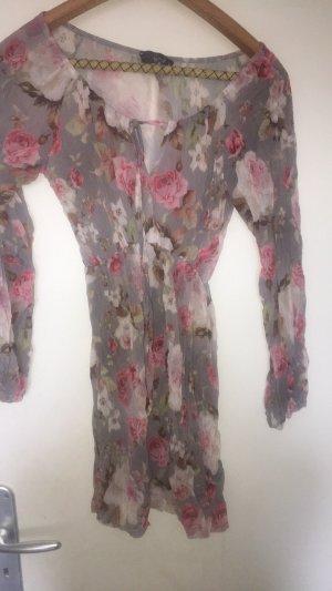 Long Blusen Kleid  mit Rosen Print