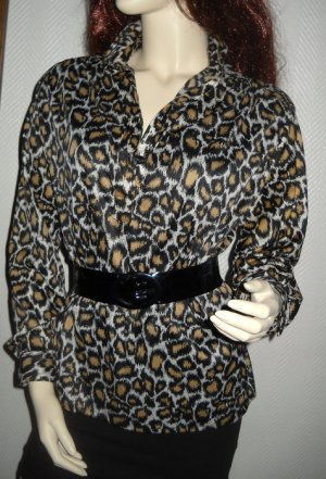 Long Bulse Schluppen Leo Animal Print Bluse Schleife Tunika 34 36 38 40 XS S H M