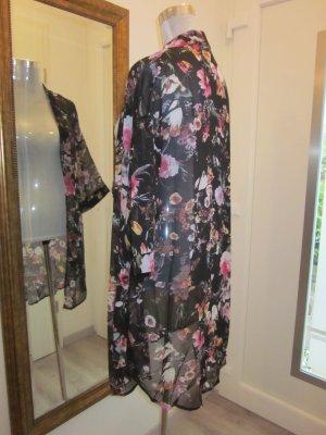 Long Cardigan Chiffon Kimono Geblümt schwarz Gr L