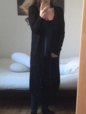 Long Cardigan, schwarze Strickjacke, Jaqueline de Yong mit Taschen vorn