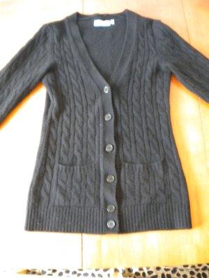 Long Cardigan Strickjacke 100% Kaschmir schwarz Gr. S