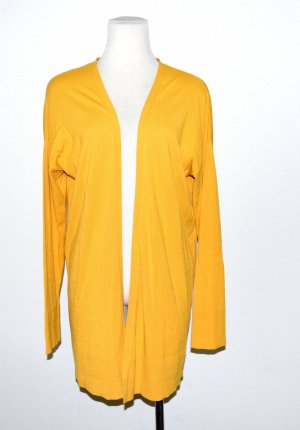 Comma Long Knitted Vest dark yellow viscose