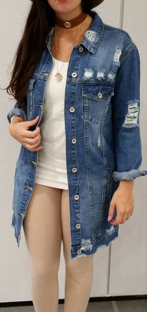 Long Denim Jacke Jeansjacke lang ripped destroyed NEU M vintage blogger hipster boho