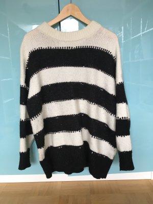 Zara Jersey largo blanco-negro