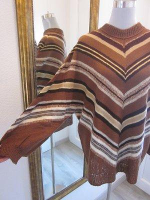 Long Pullover Braun Creme Fledermausärmel Retro Gr M/L