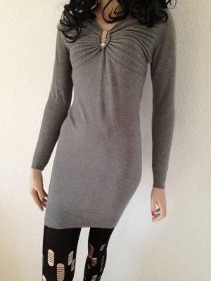 Long Pullover Minikleid Strass Raffung Longpullover Pulli Kleid