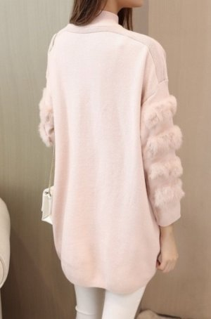 Long Pullover mit Faux Fell Rosa  L/ XL