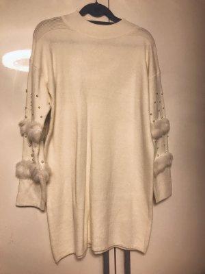 Long Pullover mit Perlen Damen Winter Pullover Weiß Top Qualität Neu XL