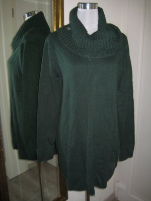 Long Pullover Oliv Grün Gr L Rollkragen