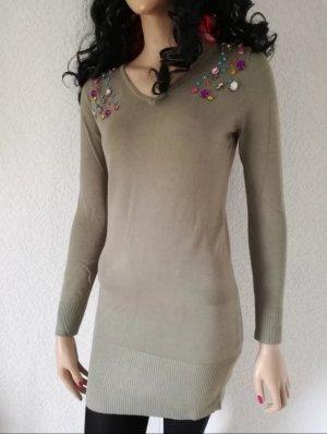Long Pullover Schmucksteine Longpullover Minikleid Strass Kleid Pulli