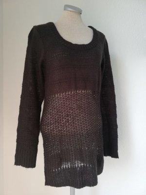 Long Pullover Strickpullover braun Gr. 38 S M neu Rundhalspullover