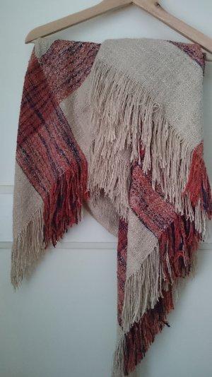 Long Schal / Poncho von Pull & bear beige rot braun