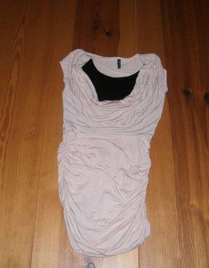 Amisu Waterval shirt licht beige-zwart Gemengd weefsel