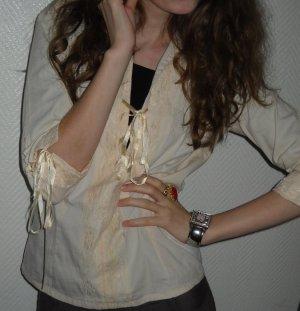 Long Shirt Top Tunika creme nude Spitze Rüsschen Bluse XS S H M 34 36 38