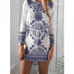Long Sleeve Blue and White Vintage Dress