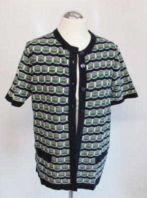 Long Strickjacke Cardigan Elene Größe 42 Blau Grün Gelb Strick Muster Kurzarm Cape Jacke Pullover Pulli