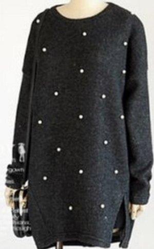 Maglione lungo nero-rosa antico