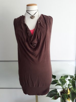 Hallhuber Cowl-Neck Top dark brown