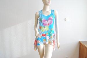 Long-Top, leicht ausgestellt, seitlich länger mit Spitze, Blumenmuster mit Schmetterlingen und Strasssteinen, Gr. S
