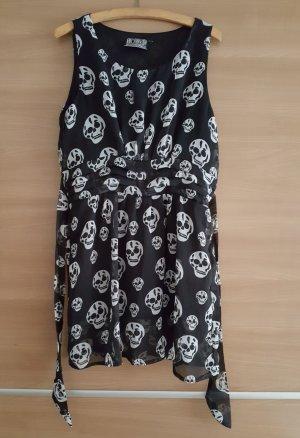 Long Top mit Totenkopf Print und Gürtel