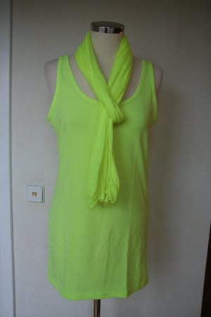 Long-Top, Trägertop mit Schal, Neongelb