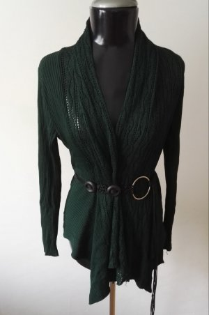Long Knitted Vest dark green