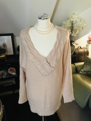 Long woll Pullover Strick Zopf Muster rose beige gr. 36 38 40 42