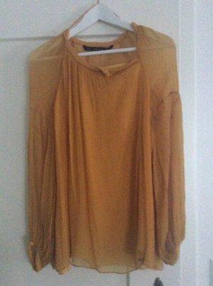Zara Blusa estilo Crash naranja dorado Algodón
