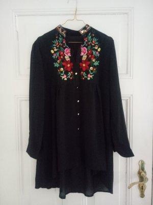 Longbluse Bluse Kleid Chiffon Schwarz Blusenkleid Stickerei Hippie Boho Blogger M 38