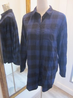 H&M Long Blouse black-dark blue cotton
