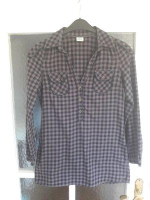Longbluse Hemd in lila-schwarz-kariert Gr. 36