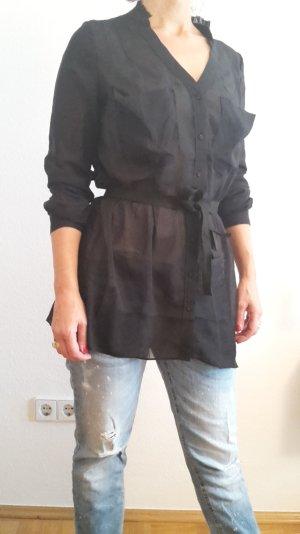 Longbluse, Hemdbluse, schwarz in Gr. M